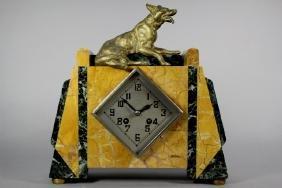 French Art Deco Clock with German Shepherd Figural