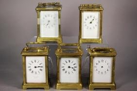 Five 19th Century French Brass Carriage Clock