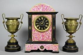 19th Century French Bronze & Slate Garniture Set