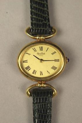 Women's Quilbe 18k Gold Wrist Watch with Lizard Strap