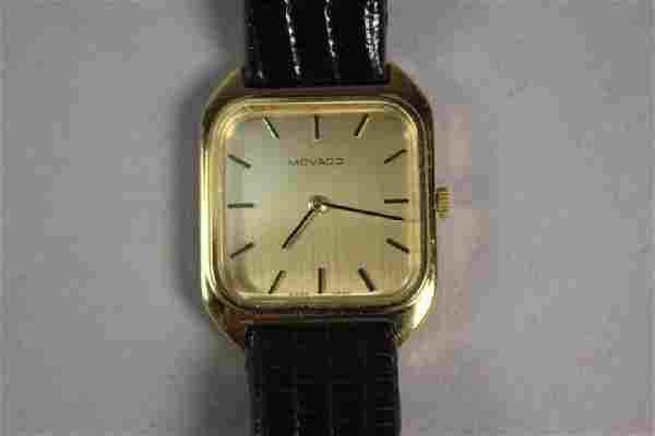 Movado Gold Plated Men's Watch with Lizard Strap