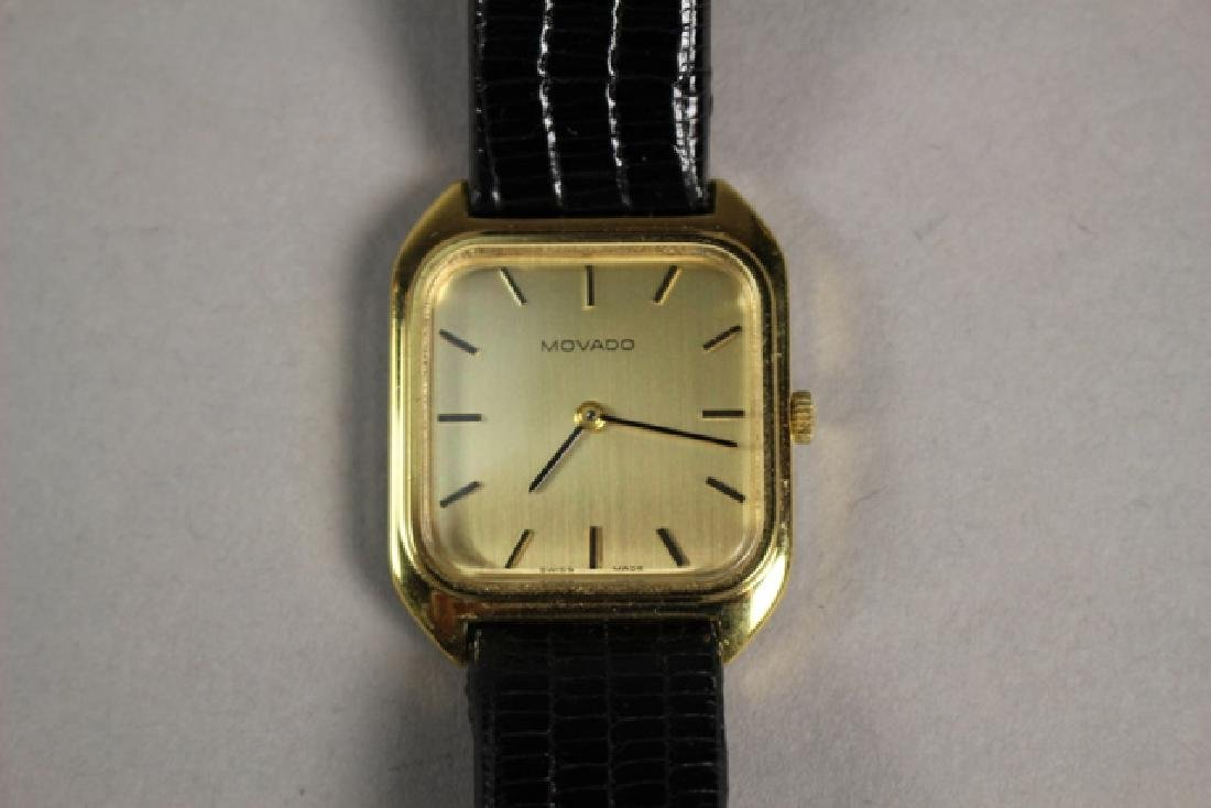 Movado Gold Plated Men's Watch with Lizard Strap - 2