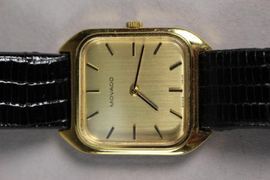 Movado Gold Plated Men's Watch with Lizard Strap - 3