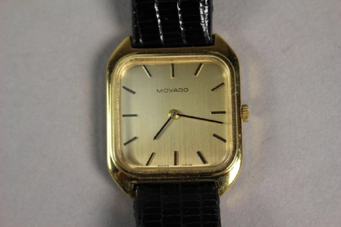 Movado Gold Plated Men's Watch with Lizard Strap - 4