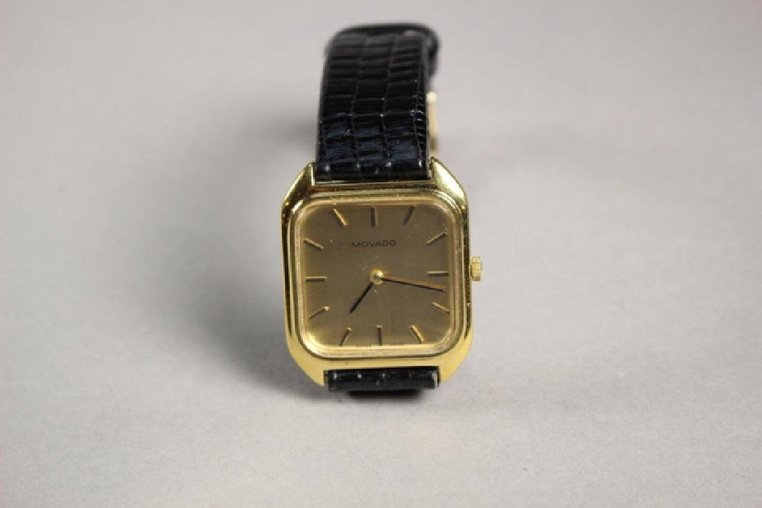 Movado Gold Plated Men's Watch with Lizard Strap - 8