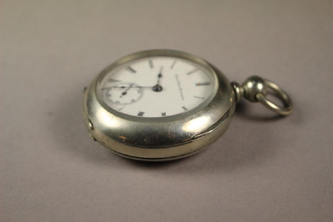 Elgin Pocket Watch in Deuber Silverine Watch Case - 4