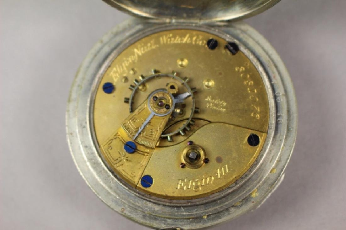 Elgin Pocket Watch in Deuber Silverine Watch Case - 6