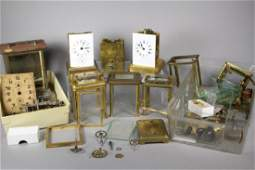 French Brass Carriage Clocks & Parts Collection Lot