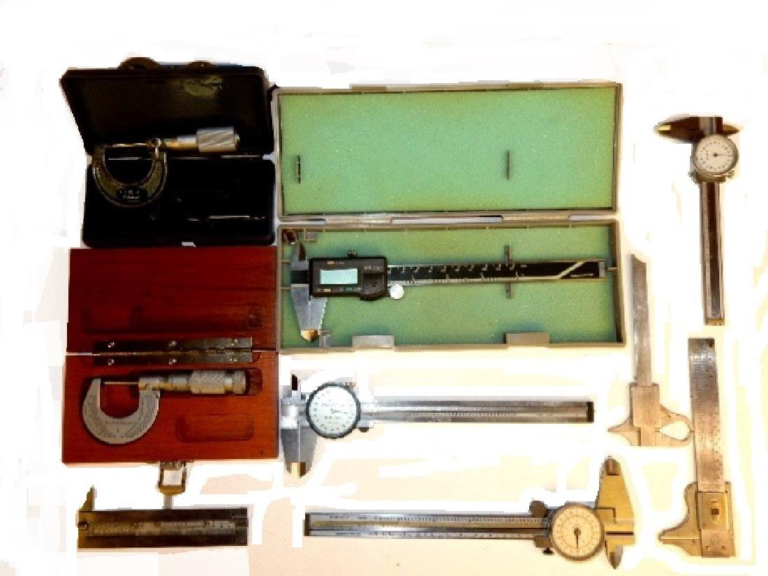 Group of Six Calipers and Two Micrometers