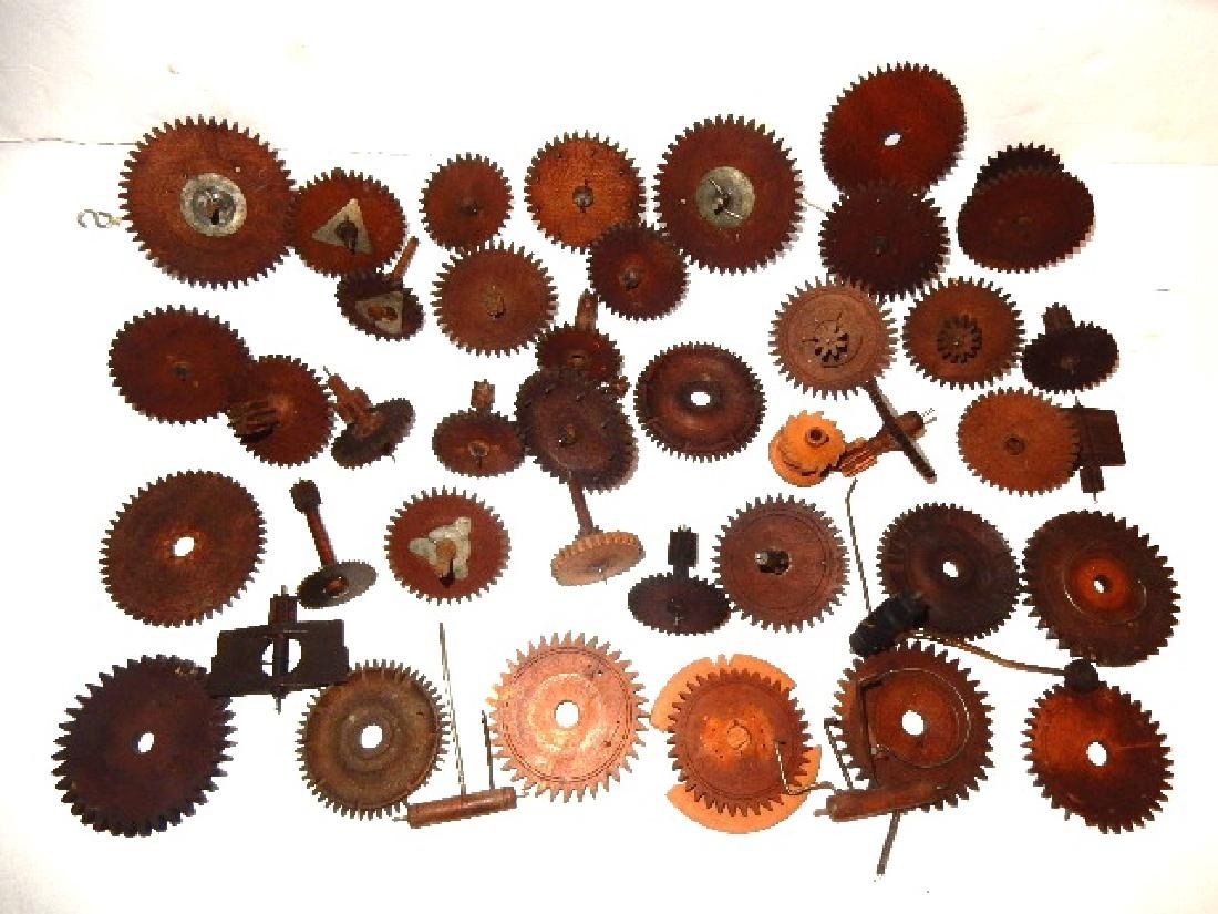 Early Wood Clock Gears/Wheel And Extras