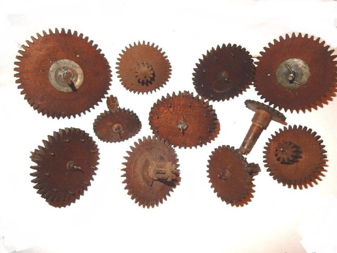Early Wood Clock Gears/Wheel And Extras - 4
