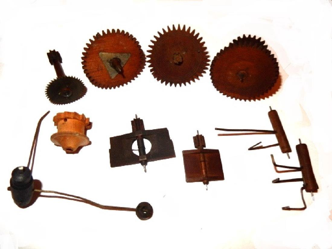 Early Wood Clock Gears/Wheel And Extras - 5