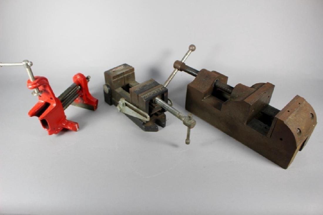 Three Vintage Machinist Drill Press Vises