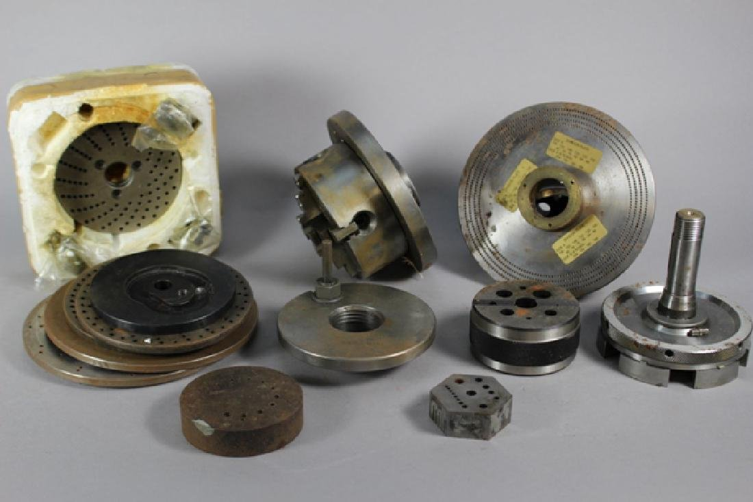 Collection of Lathe Chucks and Division Plates