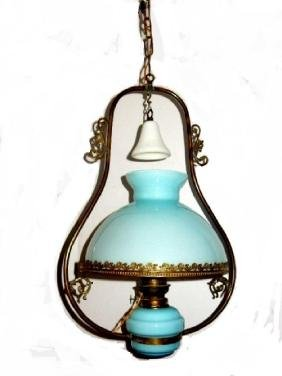 Victorian Hanging Oil Light Electrified