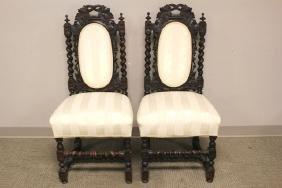 Pair Of 19th Century Oak Renaissance Revival Chairs