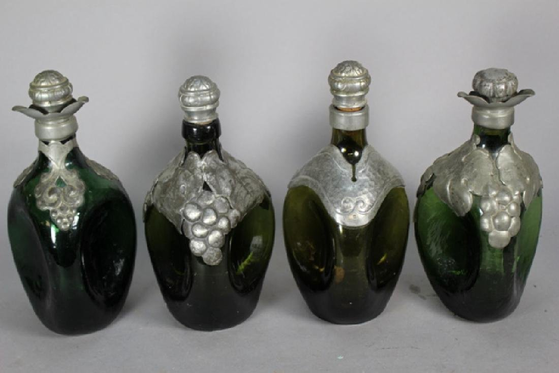 Four Danish Pewter Overlay Pinched Decanters - 2