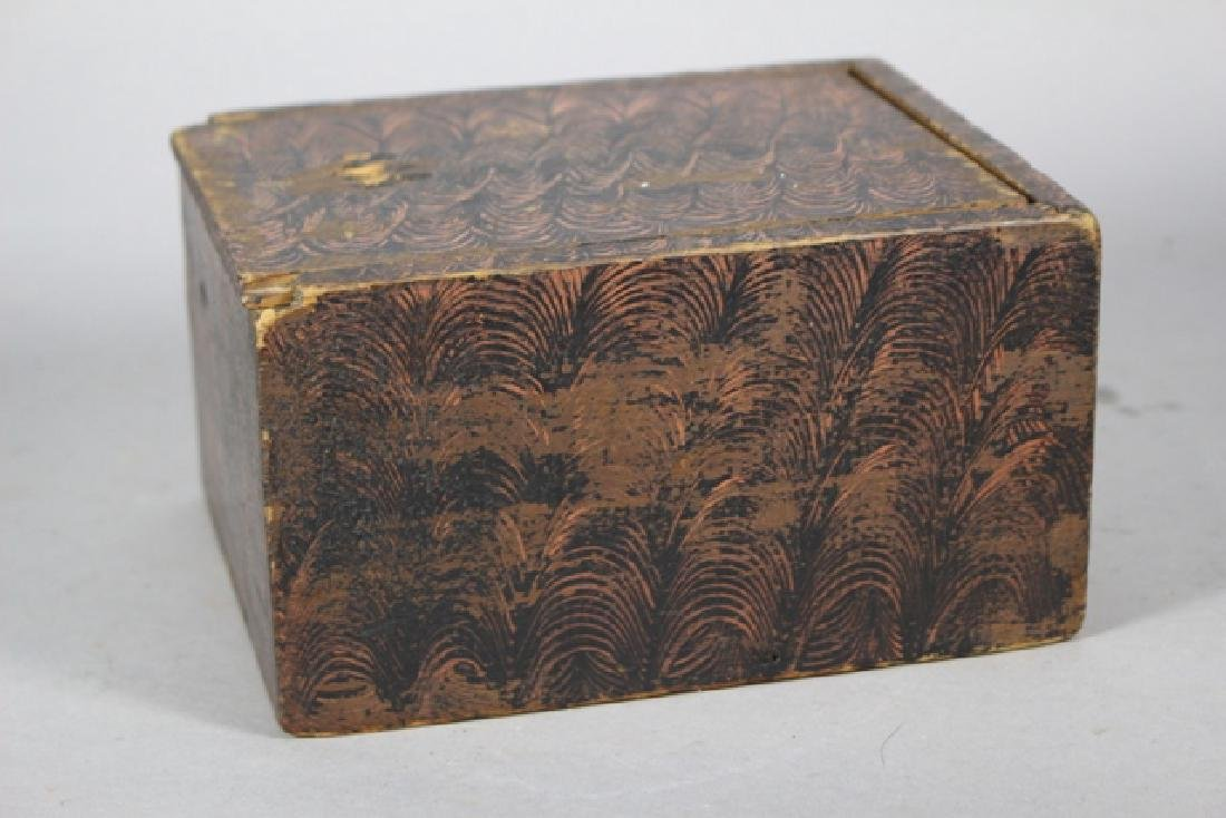 19th C. New England Salmon Painted Document Box