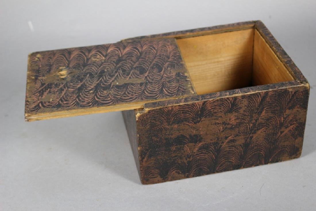 19th C. New England Salmon Painted Document Box - 2