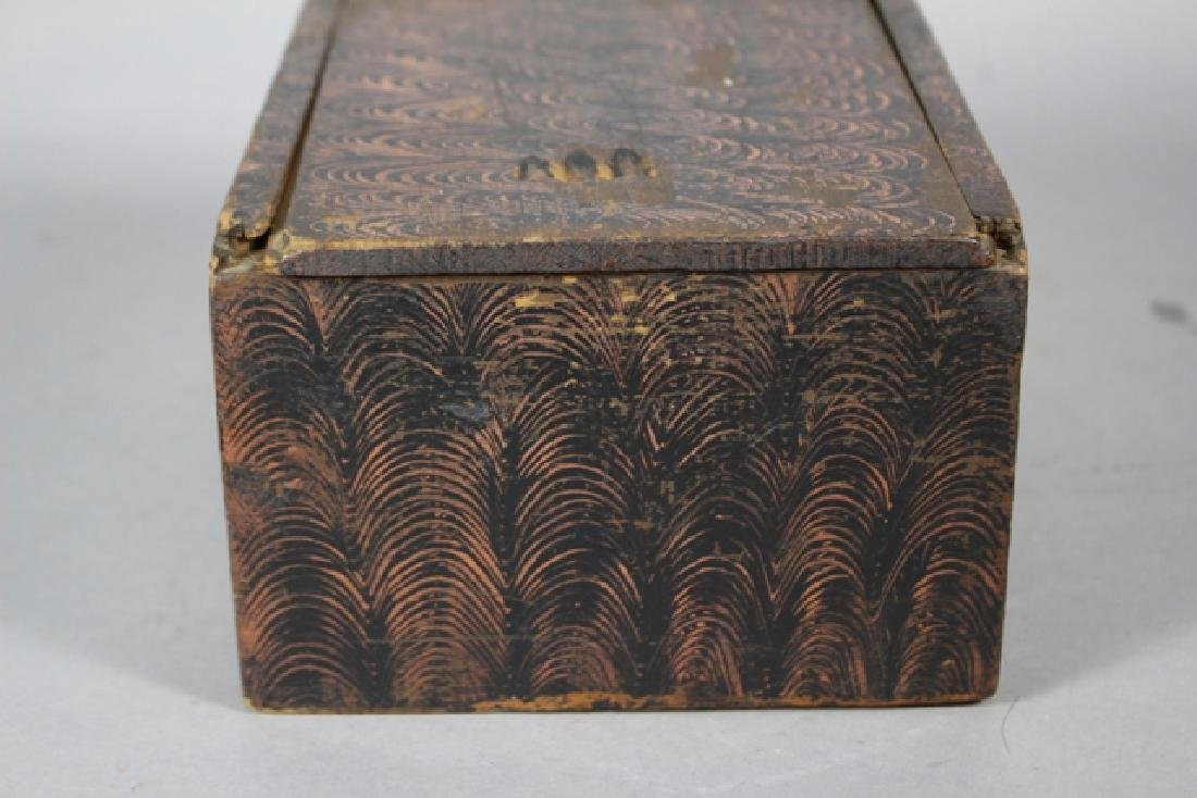 19th C. New England Salmon Painted Document Box - 3
