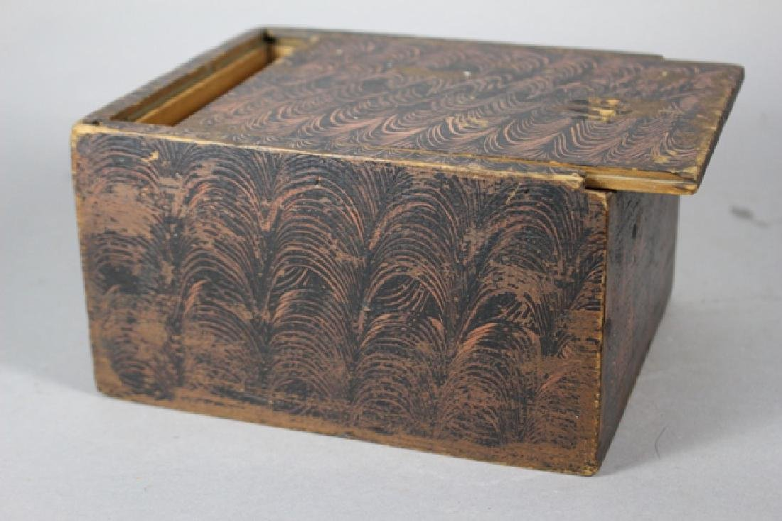 19th C. New England Salmon Painted Document Box - 4