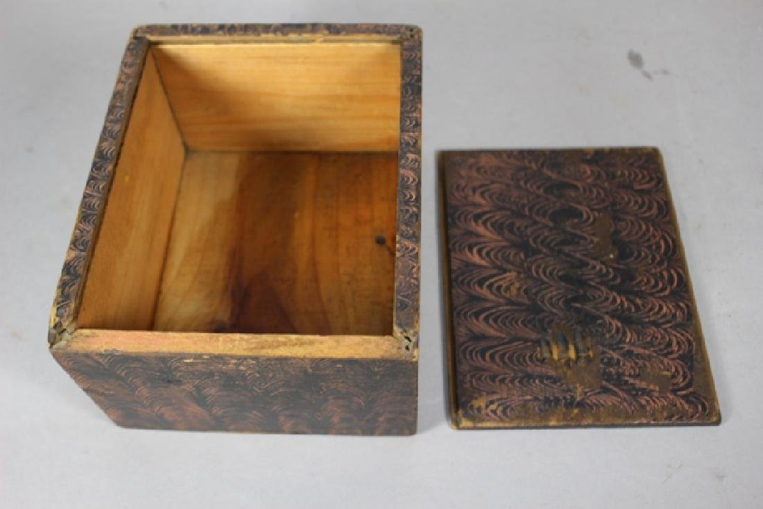 19th C. New England Salmon Painted Document Box - 5