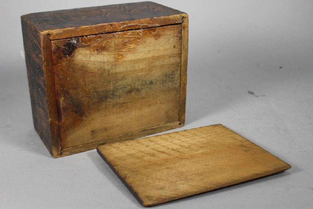 19th C. New England Salmon Painted Document Box - 6
