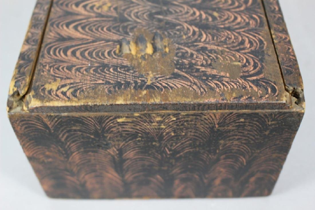 19th C. New England Salmon Painted Document Box - 7