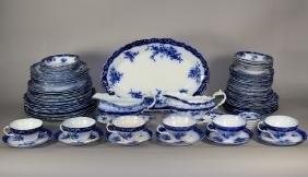 "Stanley Pottery Co. ""Touraine"" Flow Blue Dinnerware"