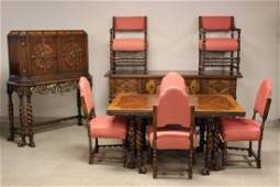 Ten Piece Heavily Carved American Dining Room Set