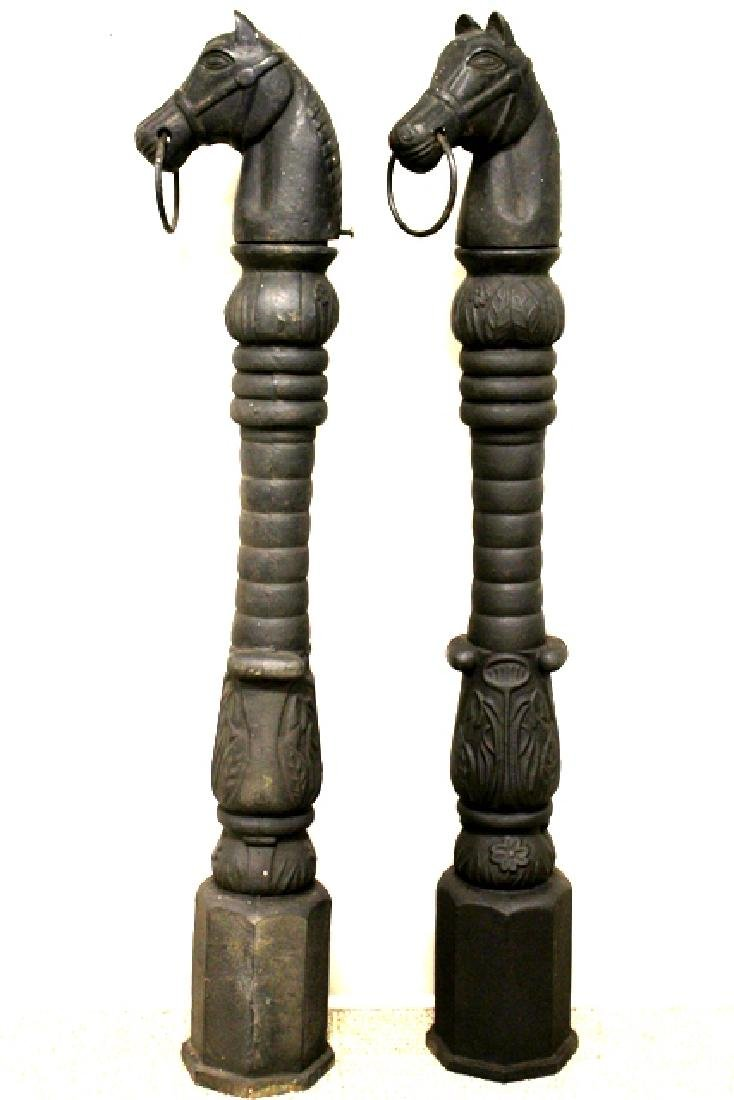 Pair Early 20th Century Horse Head Hitching Posts