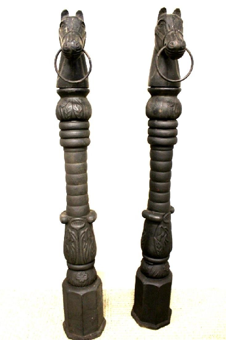 Pair Early 20th Century Horse Head Hitching Posts - 5