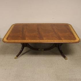 Baker Banded Mahogany Double Pedestal Dining Table