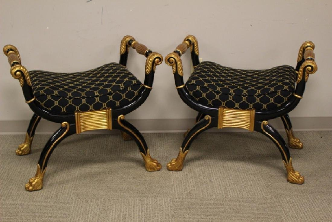 Pair of Maitland Smith Curule Taboret Seats