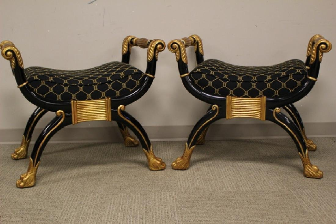 Pair of Maitland Smith Curule Taboret Seats - 2