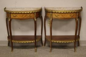 Pair French Marble Top Demilune Side Table