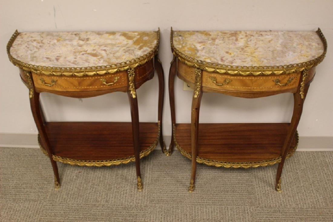 Pair French Marble Top Demilune Side Table - 2