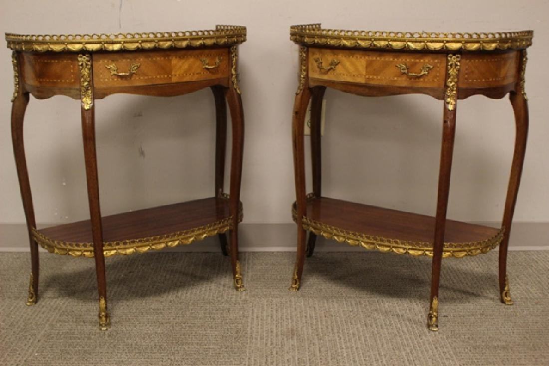Pair French Marble Top Demilune Side Table - 3