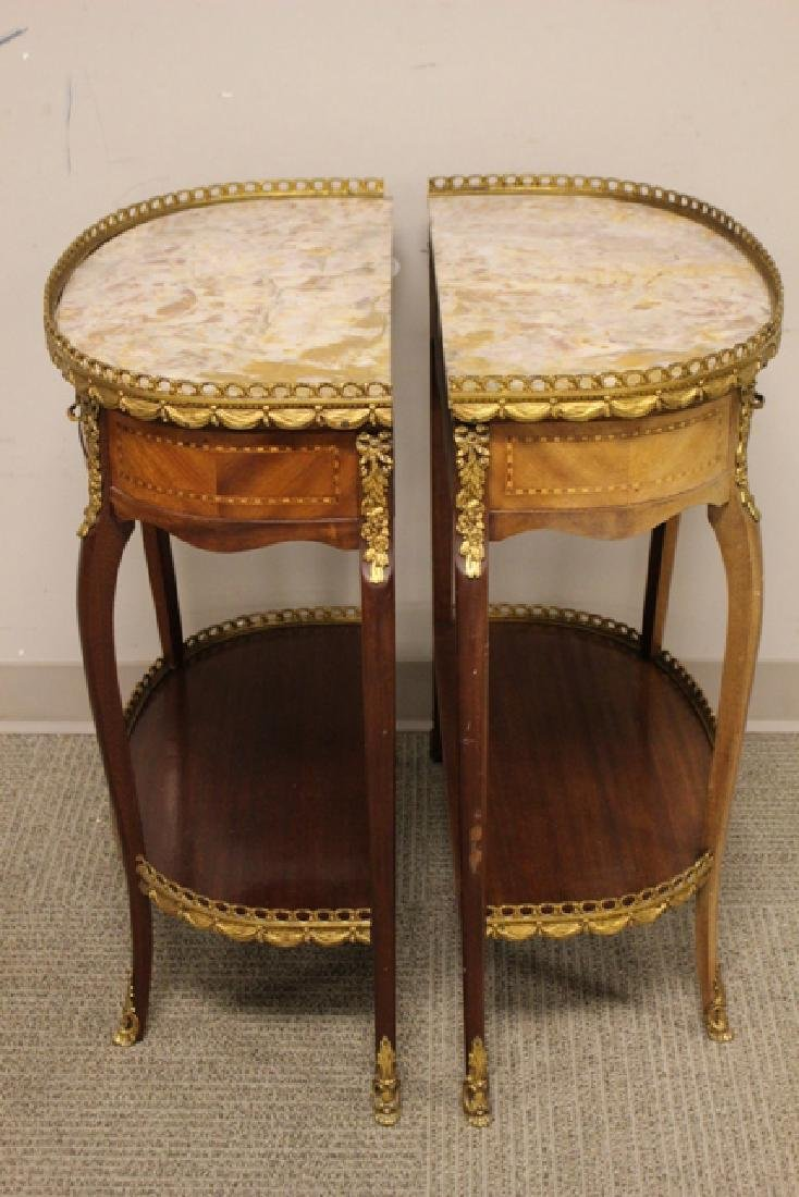 Pair French Marble Top Demilune Side Table - 5