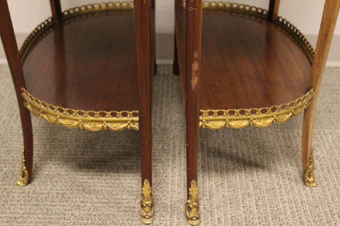Pair French Marble Top Demilune Side Table - 7
