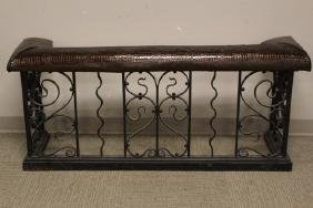 Vintage Wrought Iron Fireside Bench