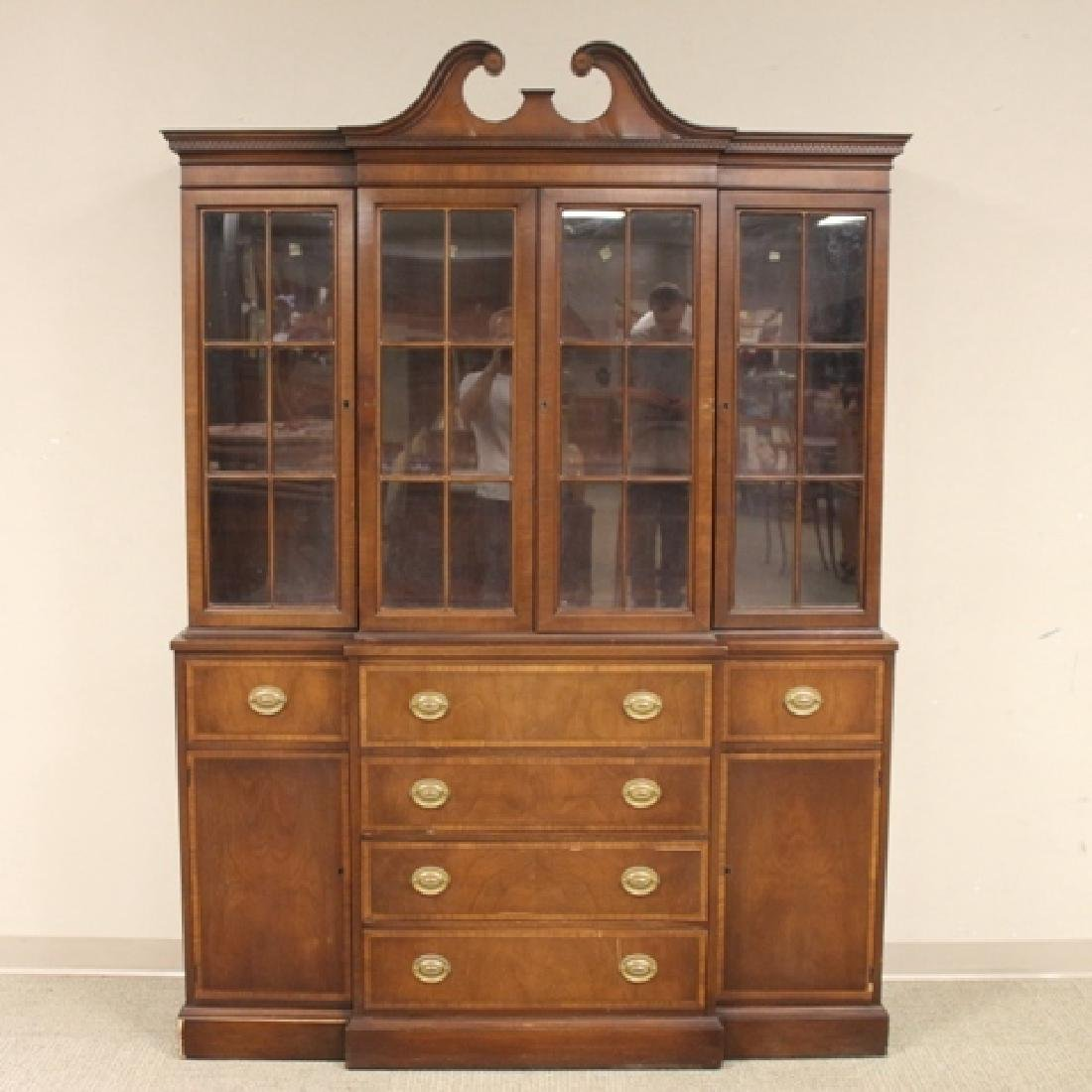 Mahogany Banded Johnson Furniture Co. Breakfront