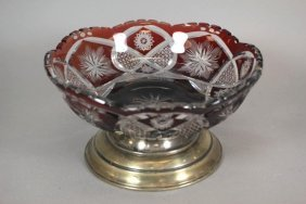 Bohemian Ruby Cut To Clear Round Bowl