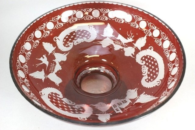 Bohemian Ruby Cut To Clear Round Bowl - 2