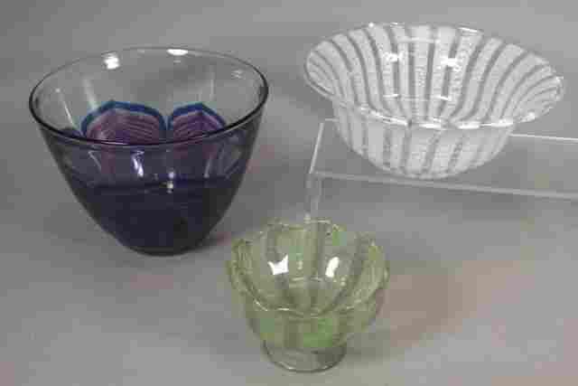 Zellique Studios Art Glass Jardiniere and Bowls