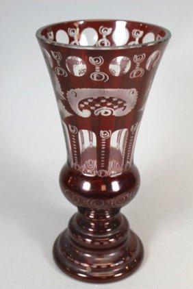 Bohemian Eggermann Ruby Cut to Clear Vase