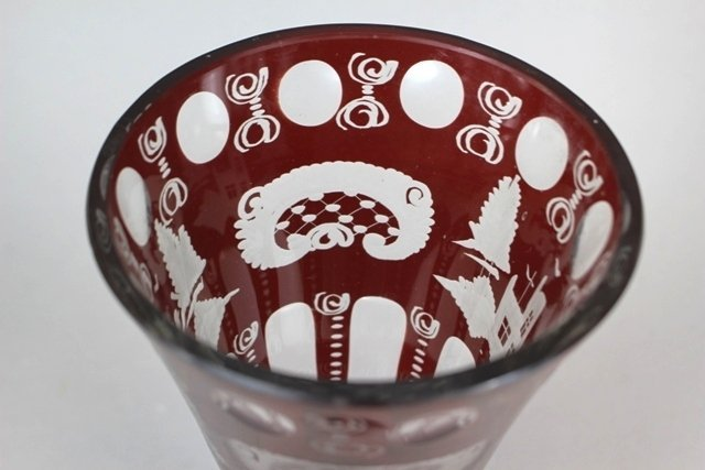 Bohemian Eggermann Ruby Cut to Clear Vase - 2