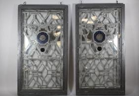 Pair of French Leaded and Painted Glass Panels