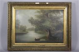 19th Century Barbizon Style Oil on Board Landscape