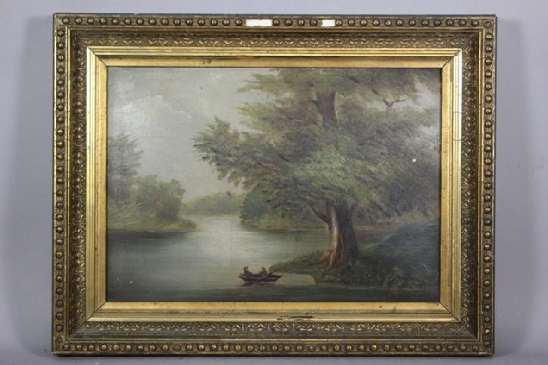 19th Century Barbizon Style Oil on Board Landscape